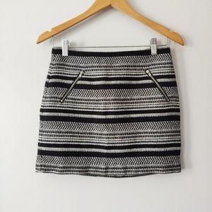 H&M Black & White Striped Knit Mini Skirt